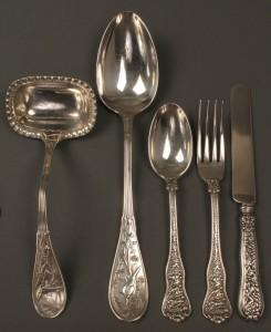 Lot 147: 5 pcs. Tiffany Sterling flatware, Japanese & Olymp