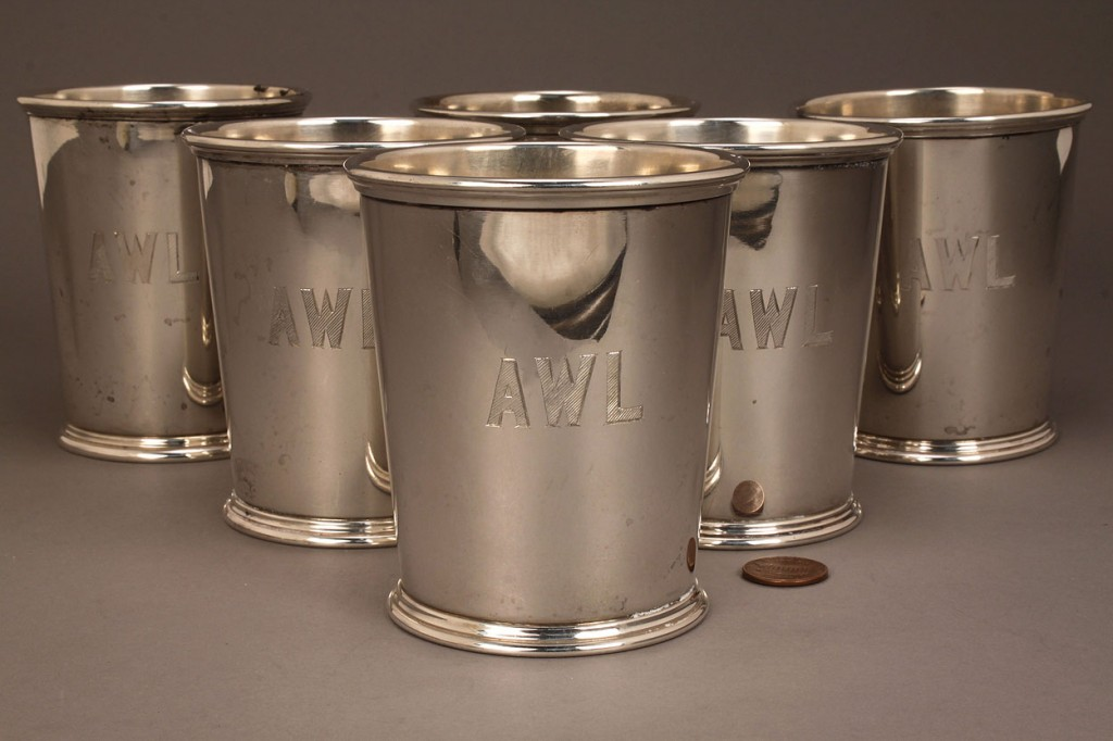 Lot 149: Six sterling silver julep cups