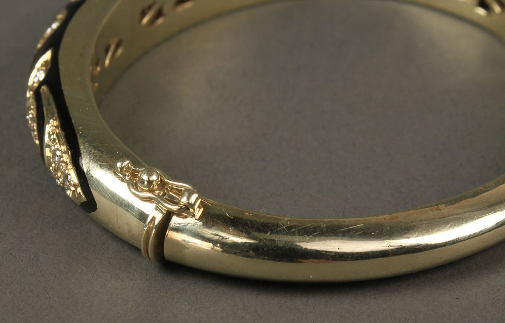 Lot 156: 14K Diamond & Black Enamel Bracelet