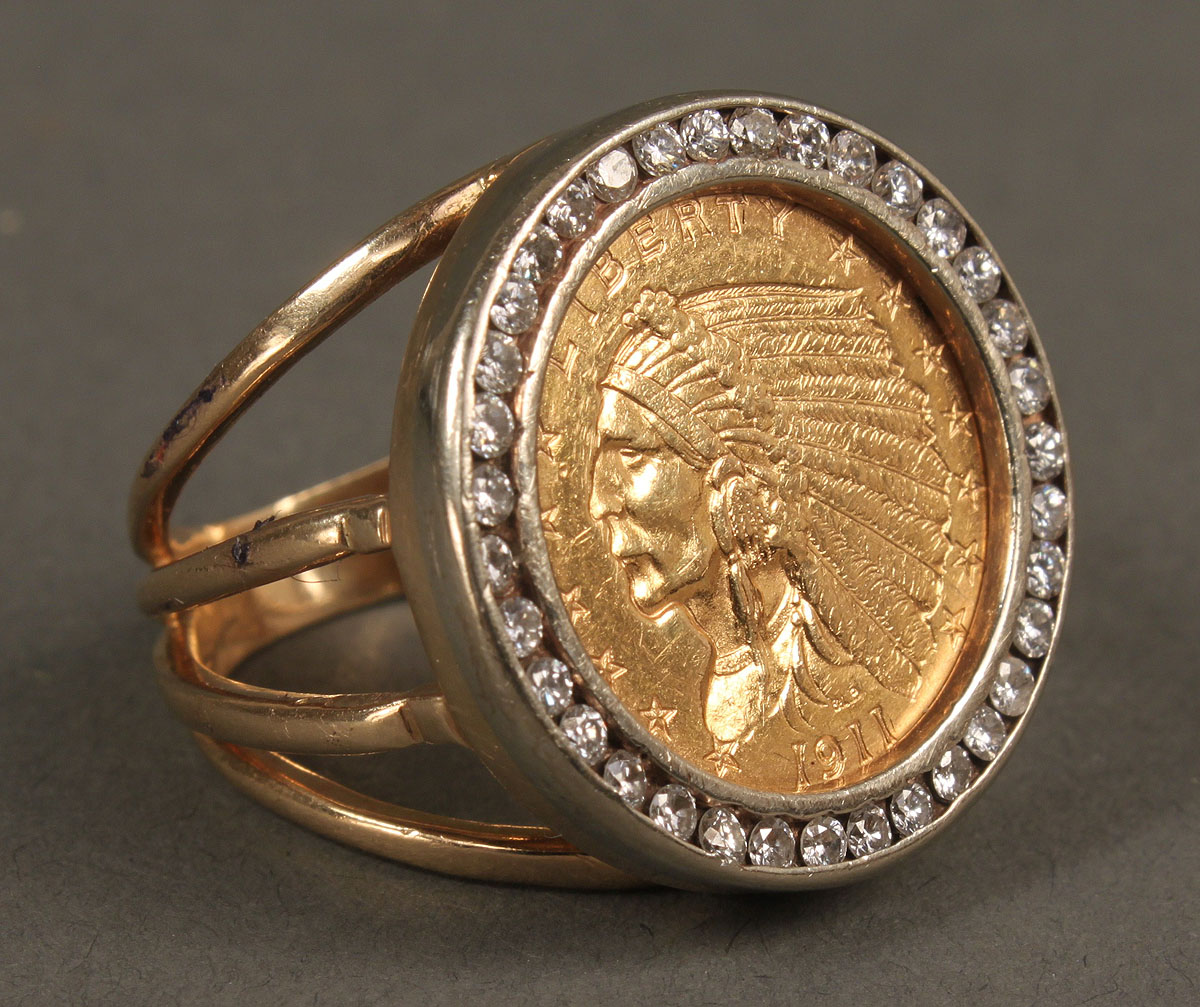 Lot 163 Two 14k Amp Gold Coin Rings