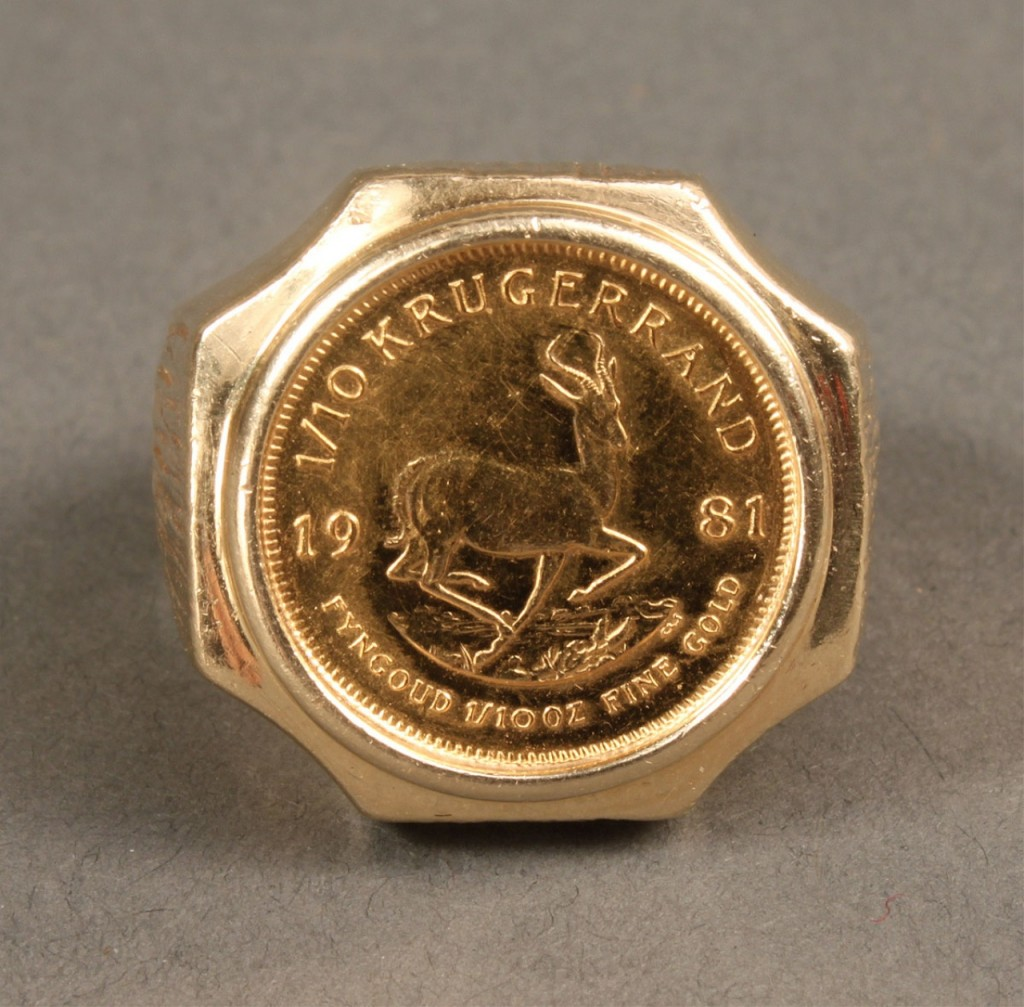 Lot 163: Two 14K & Gold Coin Rings