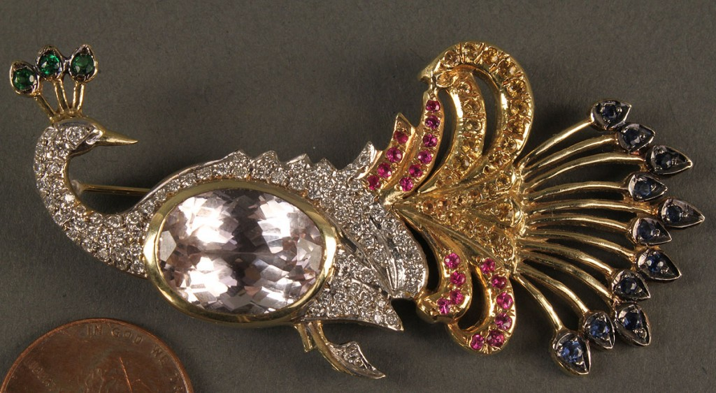 Lot 165: 14K Peacock brooch with gemstones