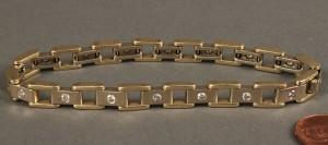 """Lot 167: 14K Diamond Link Bracelet, 8"""" L"""