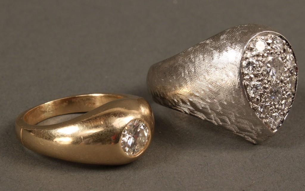 Lot 168: 2 14K Diamond Rings, 1 with .75 ct diamond