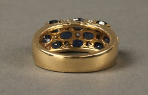 Lot 170: 18K Sapphire and Diamond Checkerboard Ring