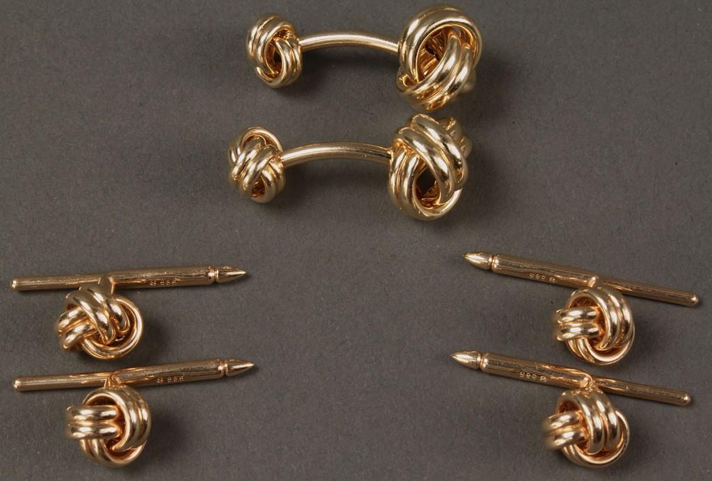 Lot 173: Gentleman's 14K Gold Knot Dress Set, 6 items