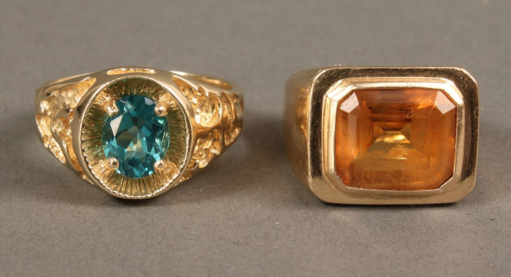 Lot 174: 2 14K Men's Rings with Stones