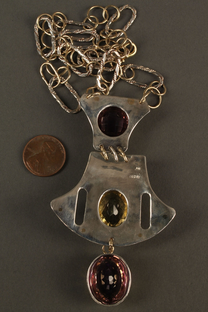 Lot 180: 14K & Sterling Amethyst & Citrine Necklace