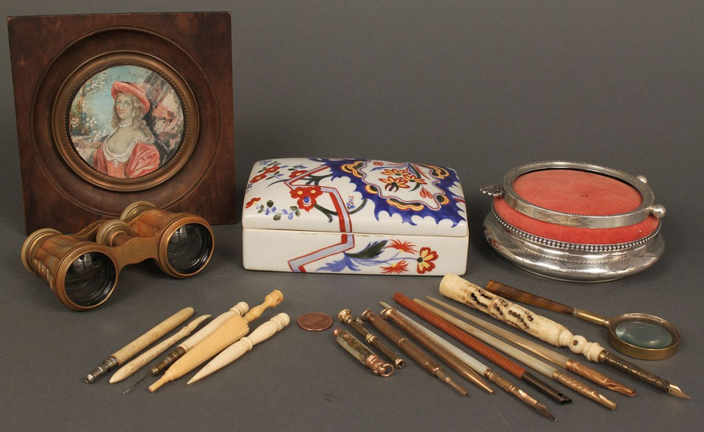 Lot 184: Misc lot of collectibles: sewing, writing, Tiffany