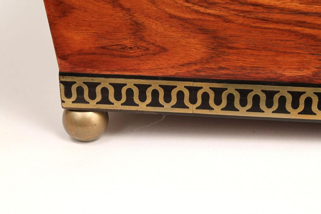 Lot 185: English Regency Sarcophagus Tea Caddy w key
