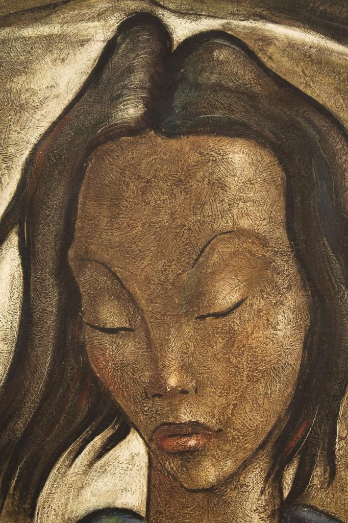 Lot 193: Angel Botello oil on board portrait of a woman