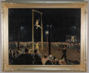 Lot 196: Ruth Harris Bohan oil on canvas, circus painting