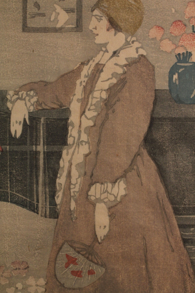 Lot 197: Bror Nordfeldt colored woodcut, Woman at Piano