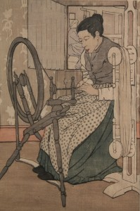 Lot 198: Bror Nordfeldt colored woodcut, Spinning Wheel