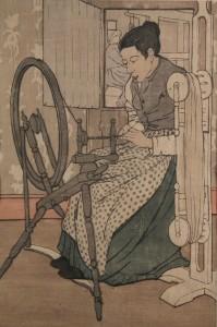 Lot 198: Bror Nordfeldt colored woodcut, Spinning Wheel
