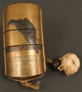 Lot 19: Japanese  Lacquered Inro w/ Netsuke, Meiji period