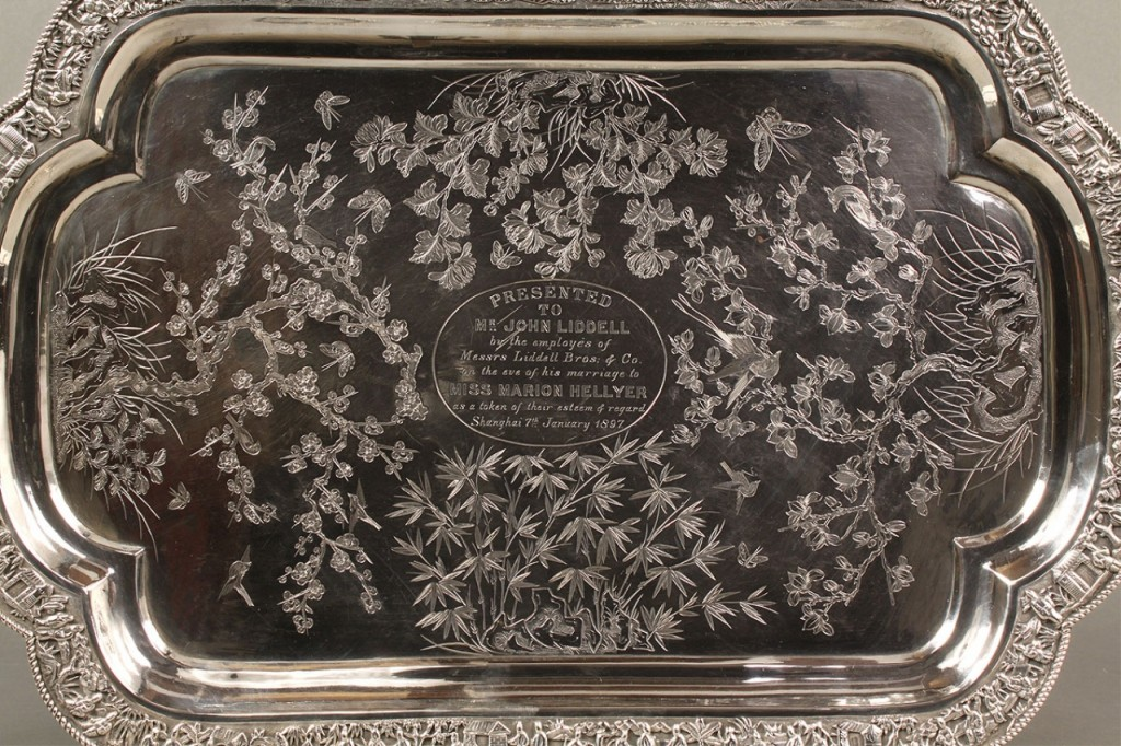Lot 1: Chinese Export Silver Presentation Tray