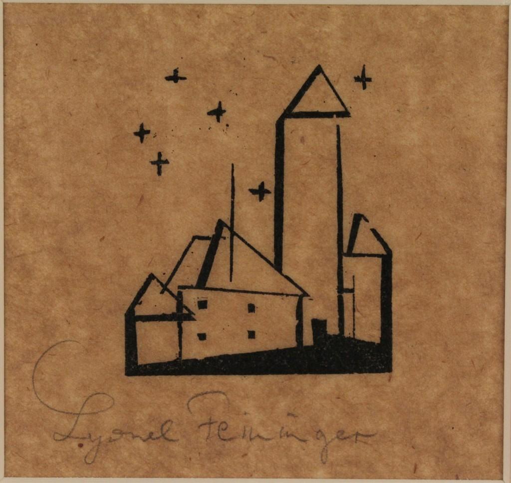 Lot 200: Lyonel Feininger Woodcut, Church With Six Stars