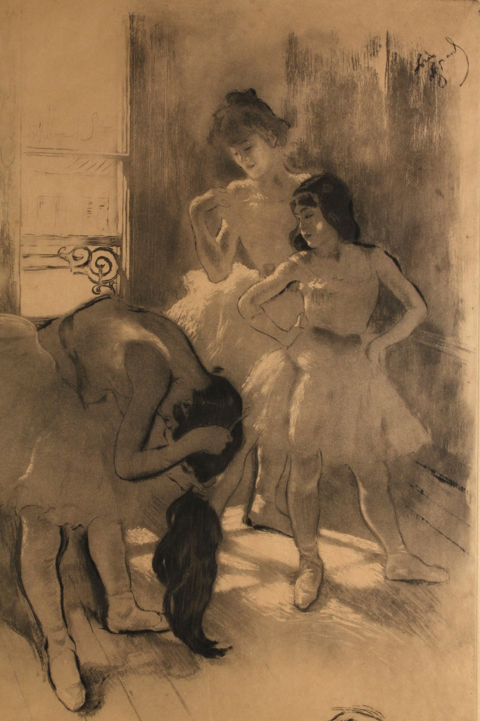 "Lot 202: Louis Legrand Etching, ""In Front of the Window"""