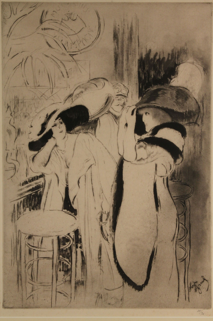"Lot 203: Louis Legrand Etching, ""Les Bars"""