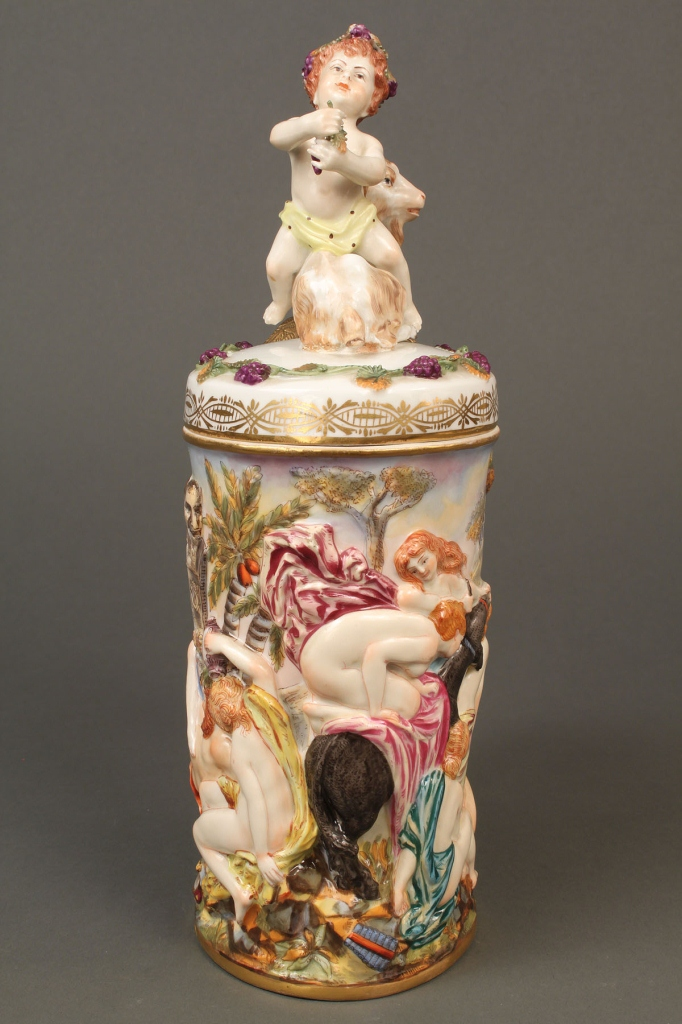 Lot 205: Early Capodimonte Bacchus Tankard marked 2118