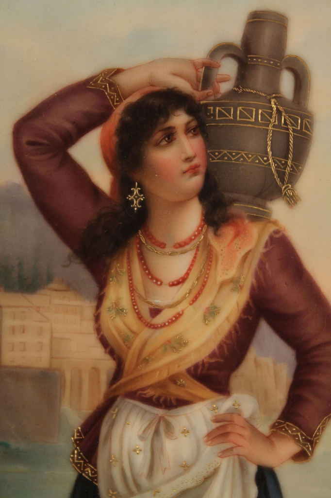 Lot 207: Framed Hand Painted Porcelain Plaque, Gypsy