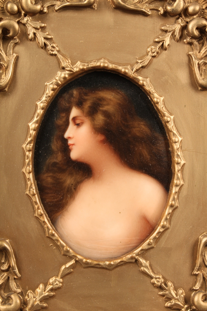 Lot 208: Porcelain Plaque of a Beauty, Erblueht Germany