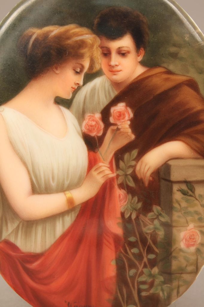 Lot 209: Hutchenreuther Porcelain plaque, lovers in a garde