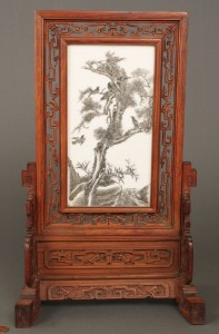 Lot 20: Chinese Republic Porcelain Scholar's Screen on Sta