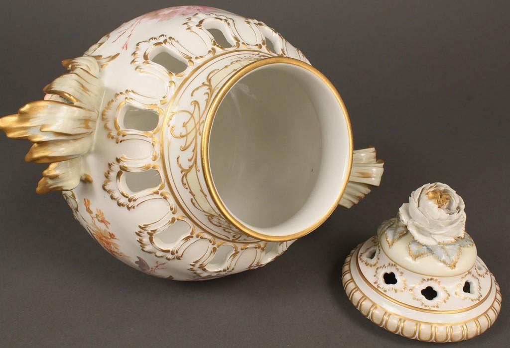 Lot 210: Porcelain KPM urn with lid and jester masks