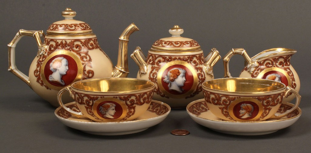 Lot 212: French Neoclassical porcelain tea set