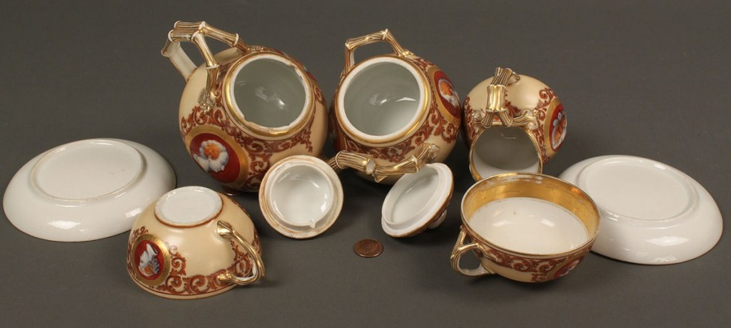 Lot 212: French Neoclassical porcelain tea set