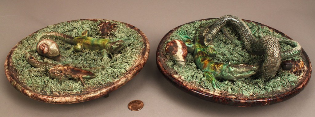 Lot 213: Two 2 Majolica Portugal Palissy Ware Plaques