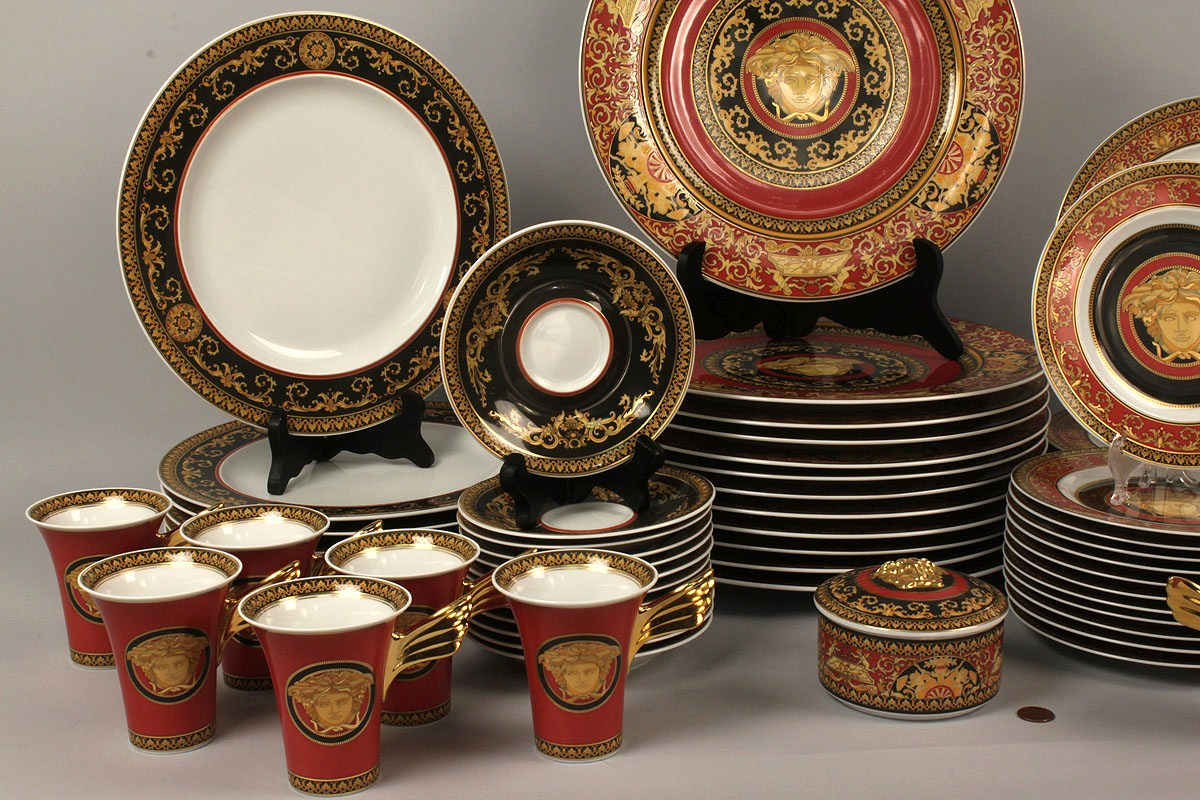 & Lot 214: Rosenthal Dinnerware Versaceu0027s Medusa 64 pcs