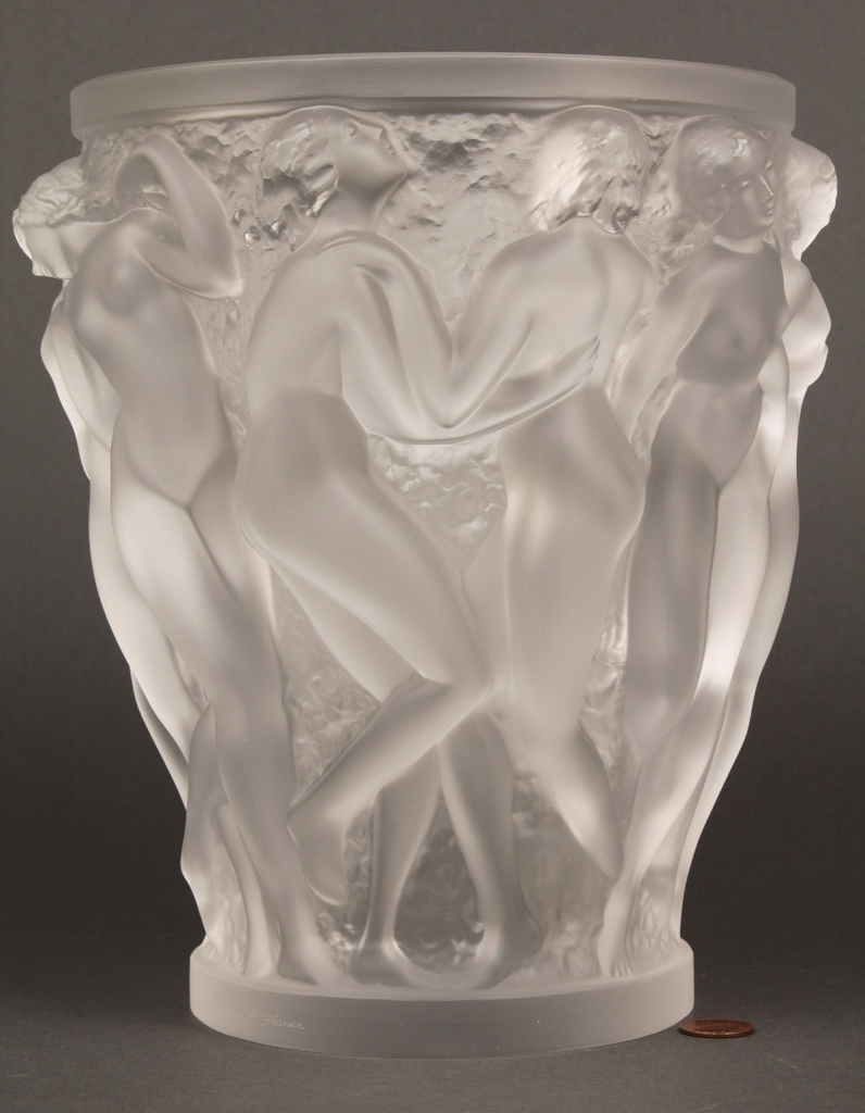 Lot 215 lalique bacchantes art glass vase for Lalique vase
