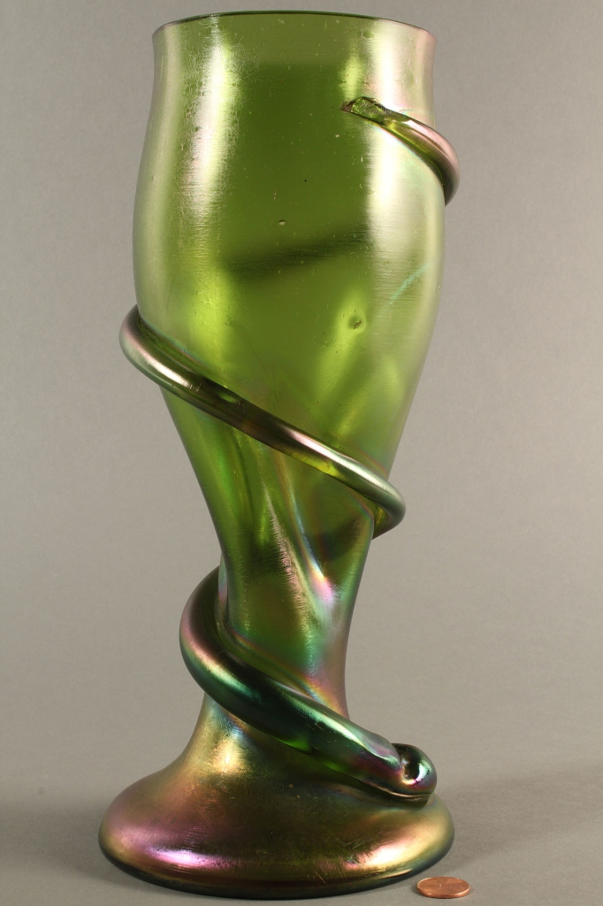 Lot 218: Bohemian art glass, large coiled serpent