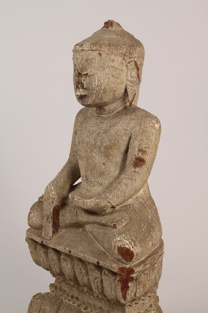 Lot 21: Asian Carved Buddha Figure, Painted