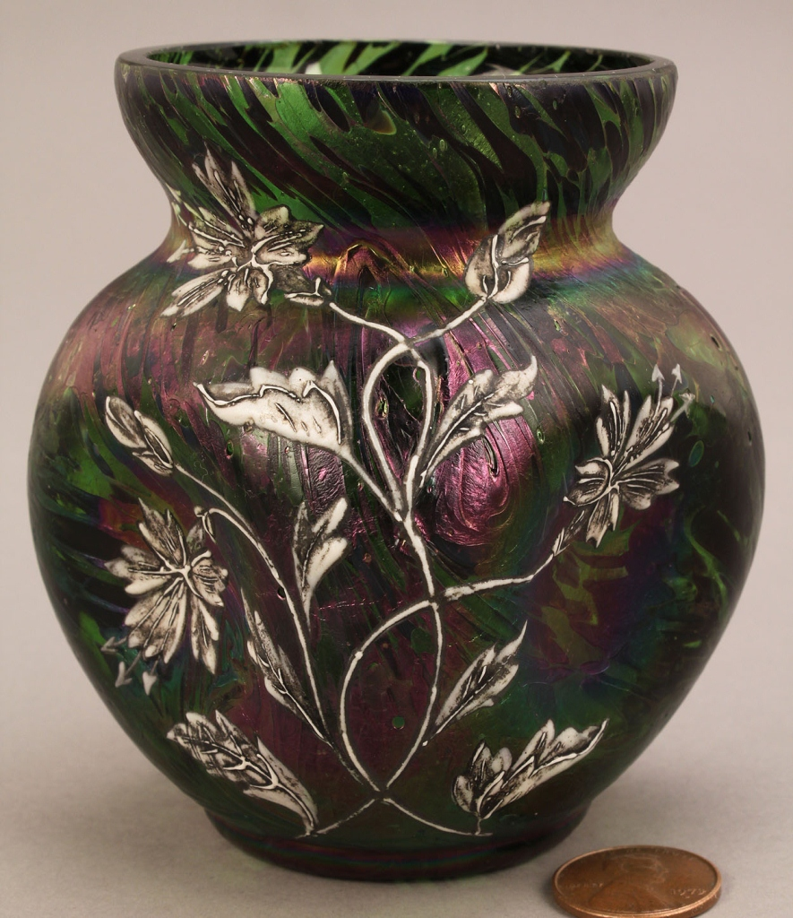 Lot 221: Enamel Overlay Art Glass Vase, attr. Loetz