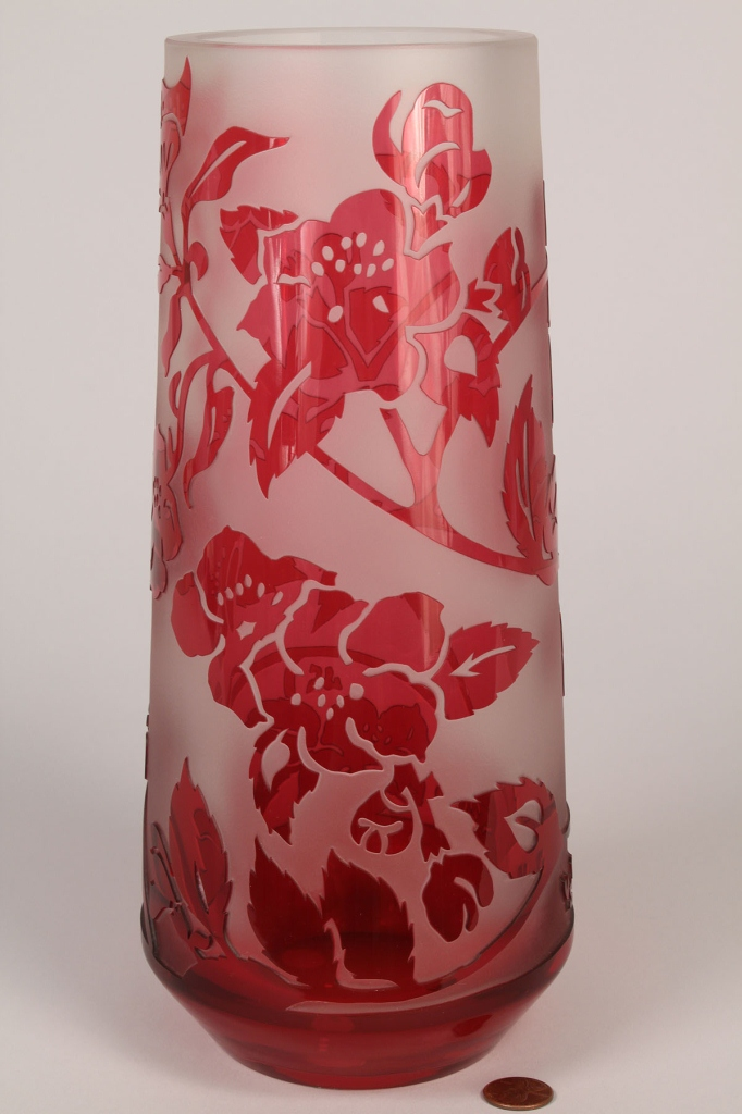 Lot 223: Val Saint Lambert Cameo Glass Vase, artist signed