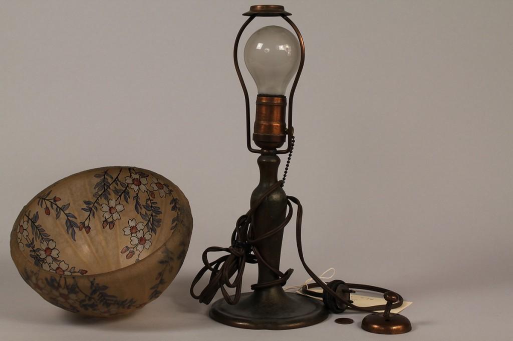 Lot 224: Handel Boudoir Lamp w/ floral shade, artist signed