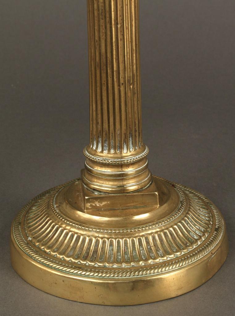 Lot 226: Pair Neoclassical Brass Candlesticks
