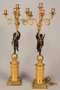 Lot 227: Pair French Empire ormolu candelabra