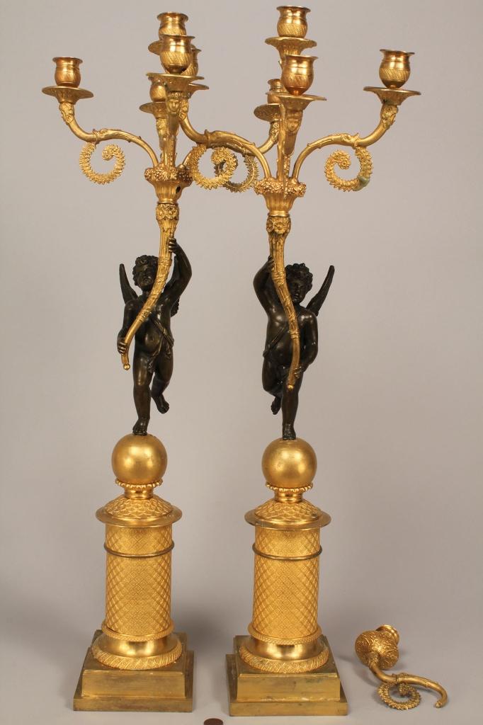 Lot 227: Pair French Empire ormolu candelabra