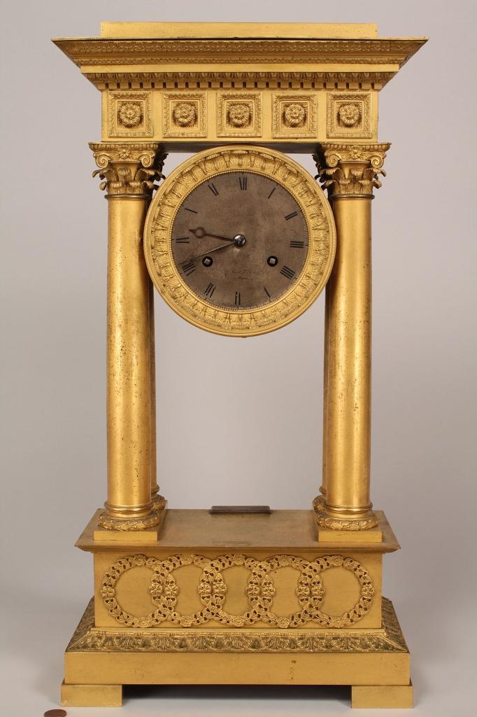 Lot 228: French Empire Portico clock