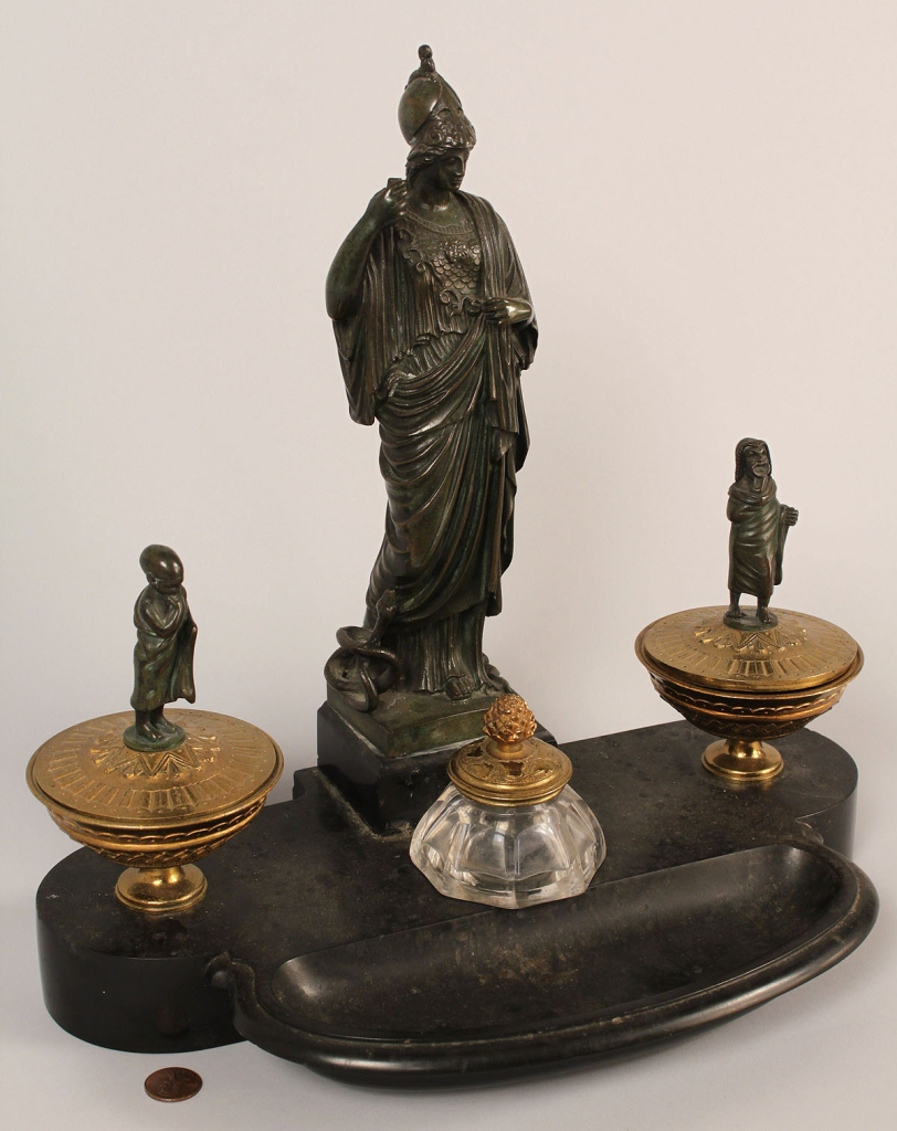 Lot 229: Bronze figural inkwell, Classical Revival