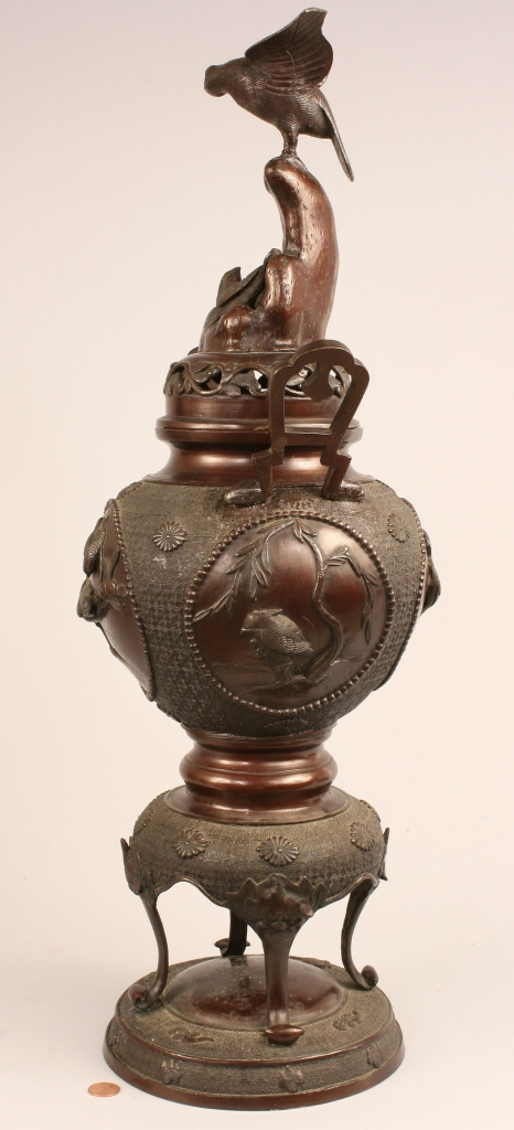 Lot 235: Asian Bronze Covered Urn