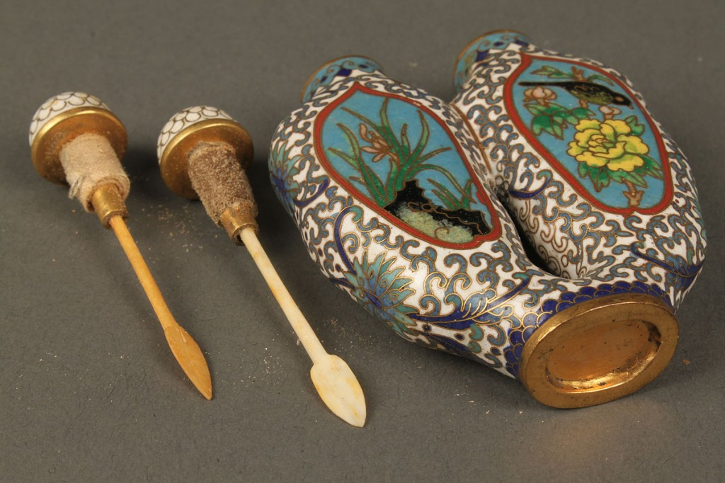 Lot 240: Chinese cloisonne double snuff bottle