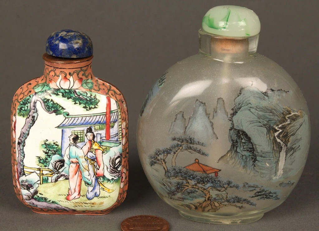 Lot 242: Two Peking enamel and glass snuff bottles