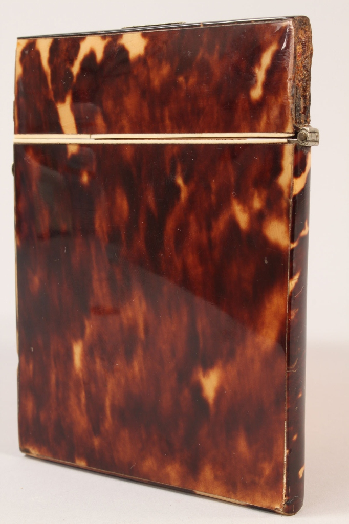 Lot 243: Silver and bone mounted tortoiseshell card case