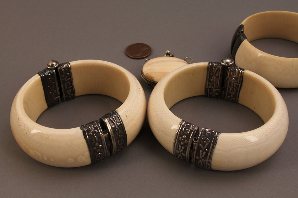 Lot 244: Four Ivory & Silver Jewelry items